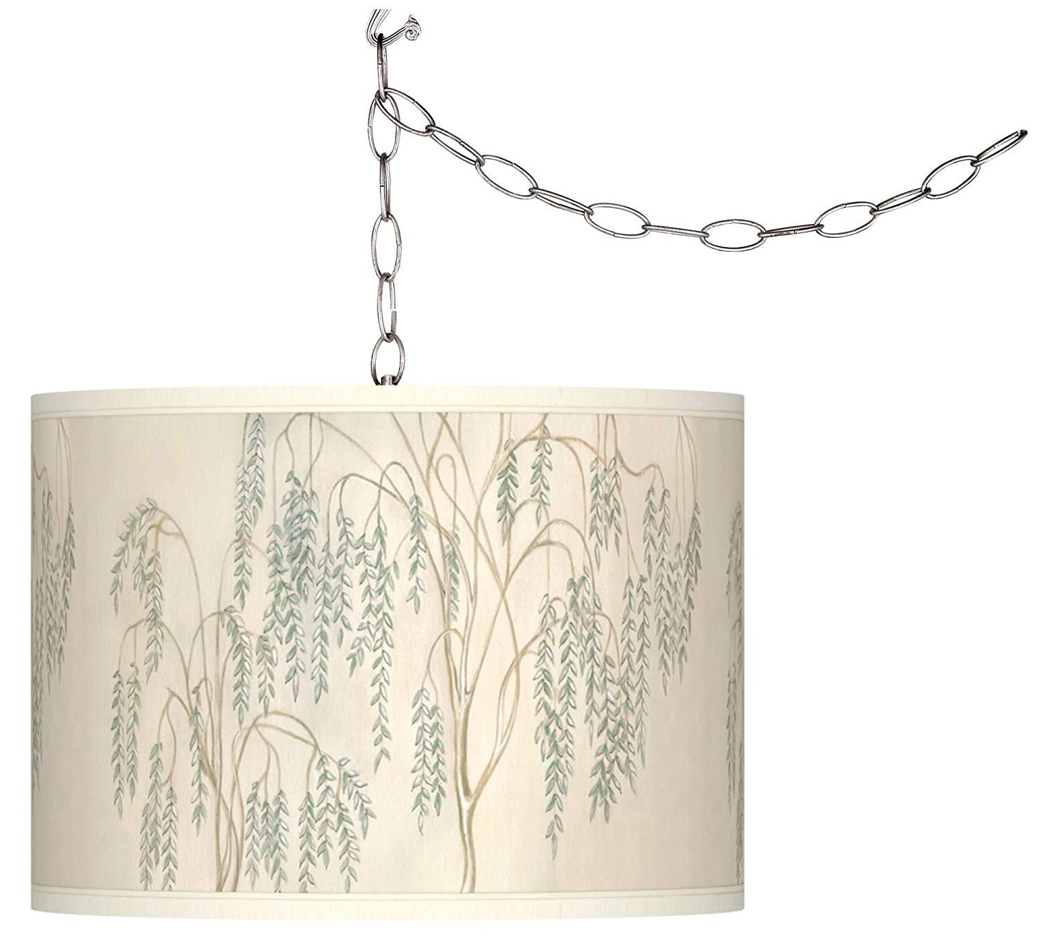 Swag Style Weeping Willow Giclee Shade Plug-in Chandelier – Giclee Gallery