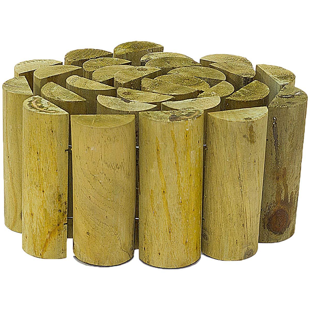 4x 15cm x 180cm Garden Log Roll Border Edging Outdoor Lawn Edge Flexible Wooden Marko