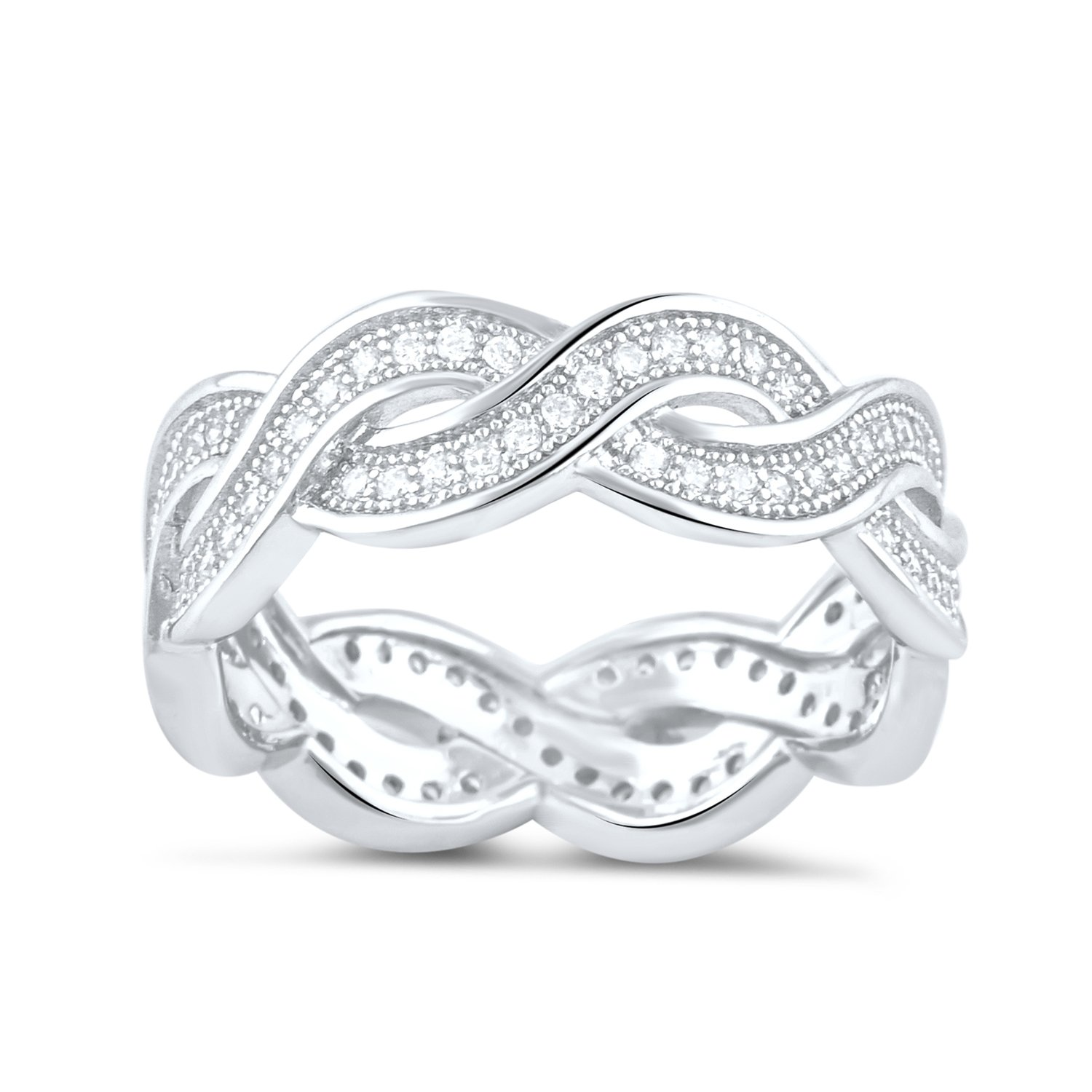 Sterling Silver Cz Infinity Eternity Ring - Size 6
