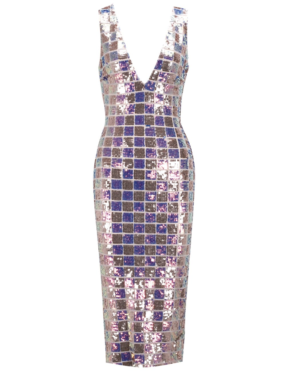 UONBOX Women's Sexy Deep V Neck Sequin Glitter Bodycon Stretchy Midi Party Dress (Rainbow, M)