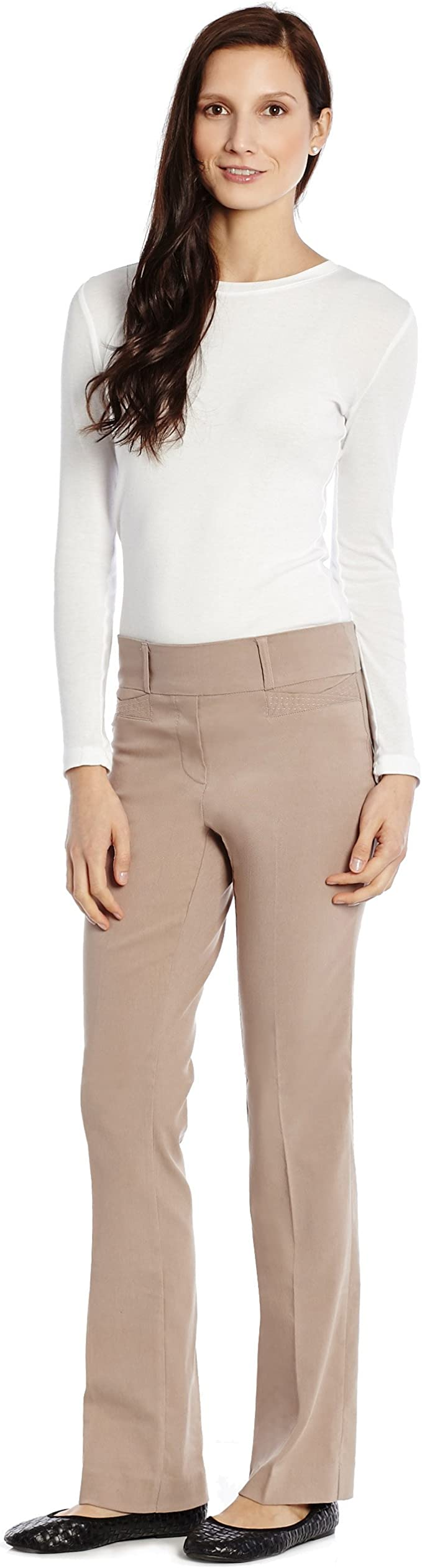 4-18 Leveret Women/'s Dk Grey Stretchable Slight Boot Cut Comfort Pant Pull On