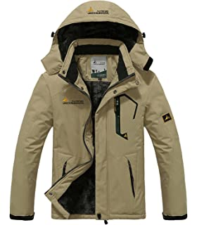 HENGJIA Mens Waterproof Outdoor Coat Fleece Windproof Ski Jacket Athletic Shell Hooded