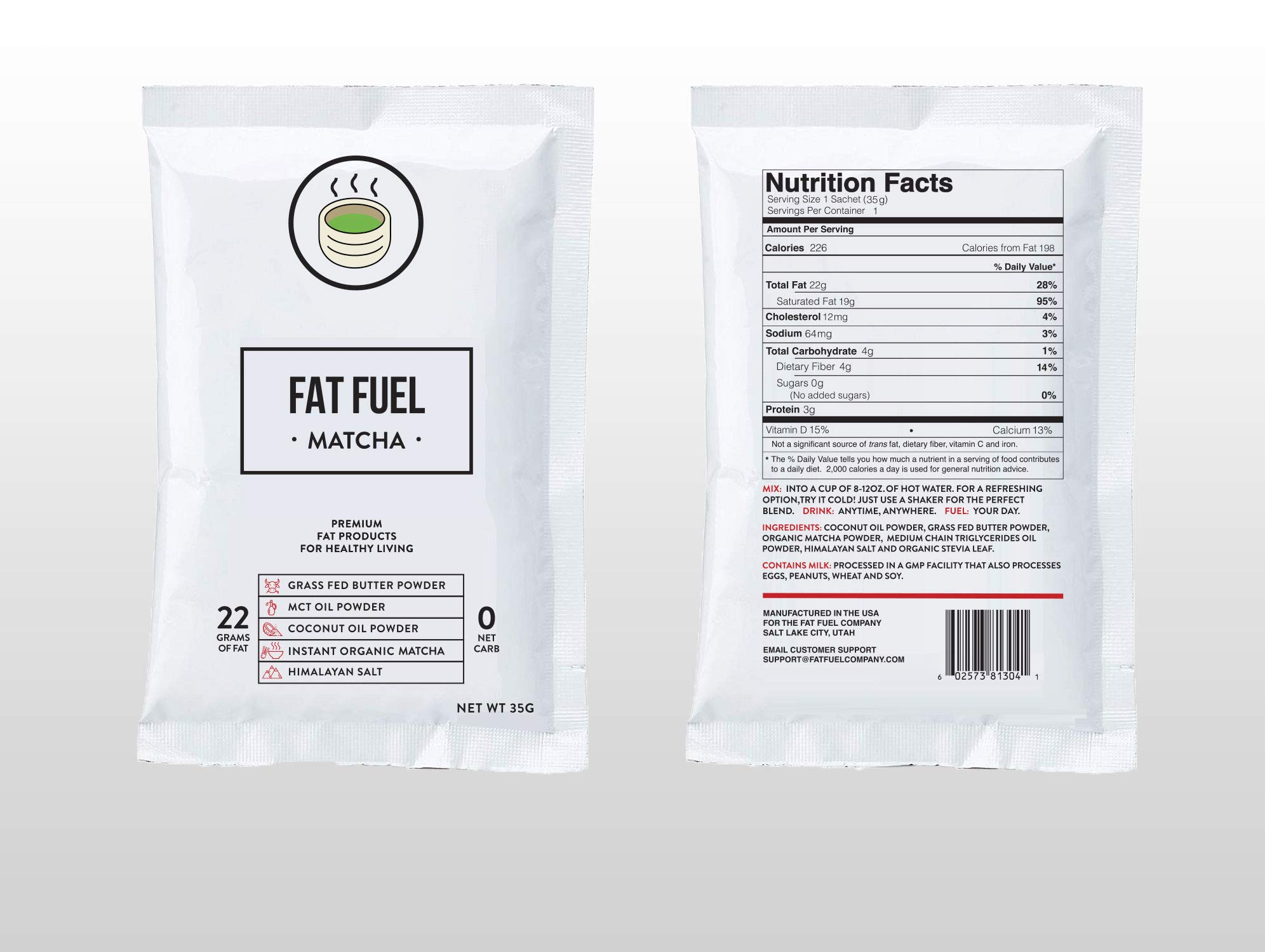 Fat Fuel Company Keto Matcha Green Tea Powder | MCT, Coconut Oil, Himalayan Salt & Grass-Fed Butter | Organic Ingredients | Energy, Focus , Detox | Perfect Drink For Low-Carb Diet | 15 Packets by The Fat Fuel Company (Image #5)