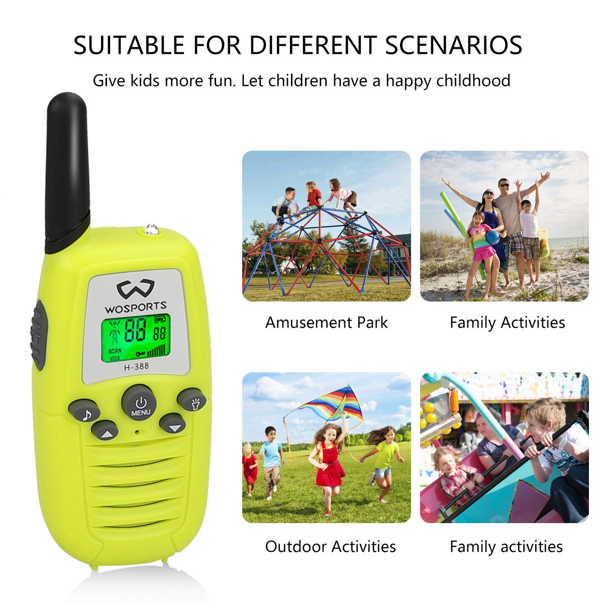 WOSPORTS Kids Walkie Talkies, 3 Pack Two Way Radios with Belt Clip, 3 KM Range Children Toy for Outdoor Adventures Game, Camping, Hiking by WOSPORTS (Image #6)
