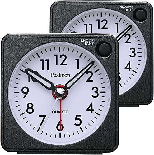 Peakeep Ultra Small, Battery Travel Alarm Clock with Snooze and Light, Silent with No Ticking Analog Quartz Black-2Pcs