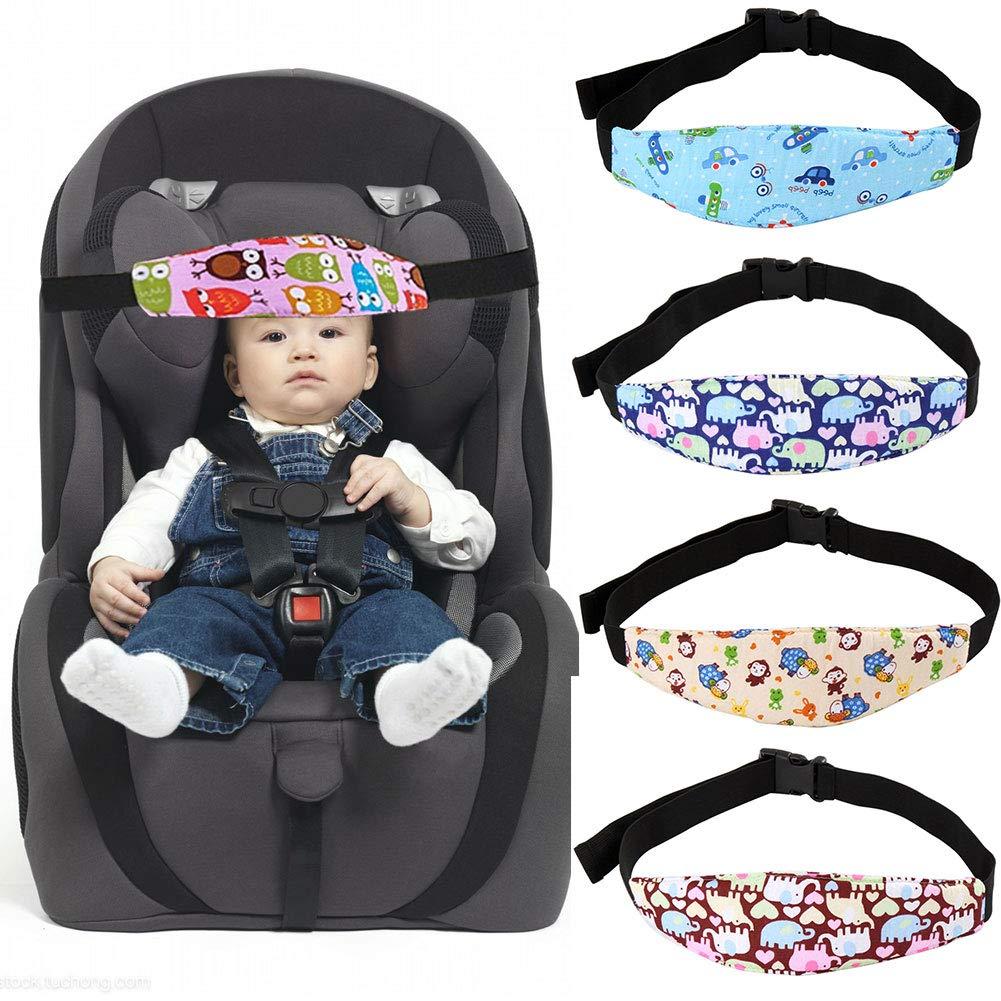 Sangle de support de tête de siège de voiture pour bébé, poussette et siège auto pour enfant - Ceinture de protection du cou, empêche les chutes ou les poussées vers l'avant lorsque bébé dort.