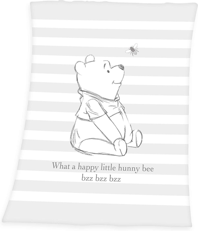 Herding Winnie-The-Pooh - Manta para bebé (75 x 100 cm, Microfibra), Color Gris y Blanco