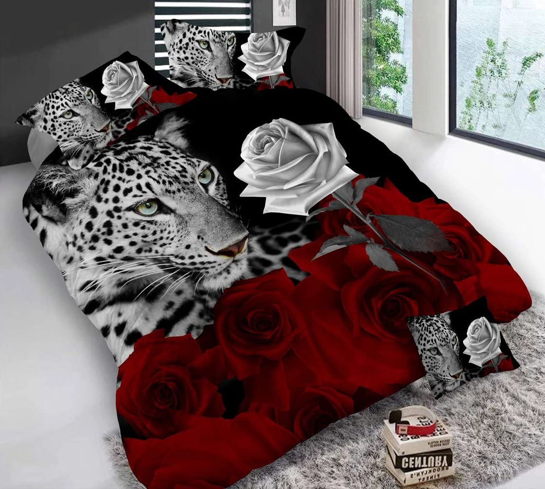 Heave 4piece Leopard White And Red Rose 3d Bedding Set Floral Prints Duvet Cover Double Size Comforter Cover Set Amazon Ca Home Kitchen