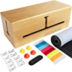 HomeBliss Bamboo Jumbo Cable Box - Stylish Cord Organizer Cable Management