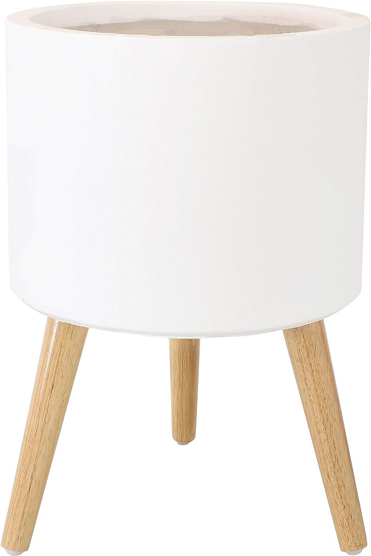 "Sunnydaze Mid-Century Style 12"" Round Fiber Clay Planter - Durable Construction - Indoor/Outdoor Decorative Flower Pot - 15-Inch Planter - White/Natural"