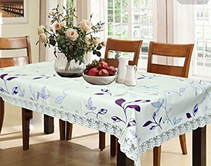 Kuber Industries PVC 6 Seater Dining Table Cover - White