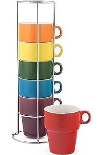 Amazon.com: White Stacking Mugs, Set of 6: Kitchen & Dining