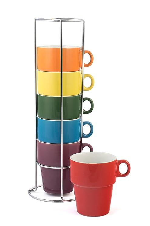 Amazoncom Gypsy Color 12 Oz Cappuccino Stacking Coffee Mug Set