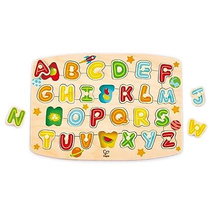 Amazon Com Hape Alphabet Peg Puzzle Game Multicolor 5 X 2