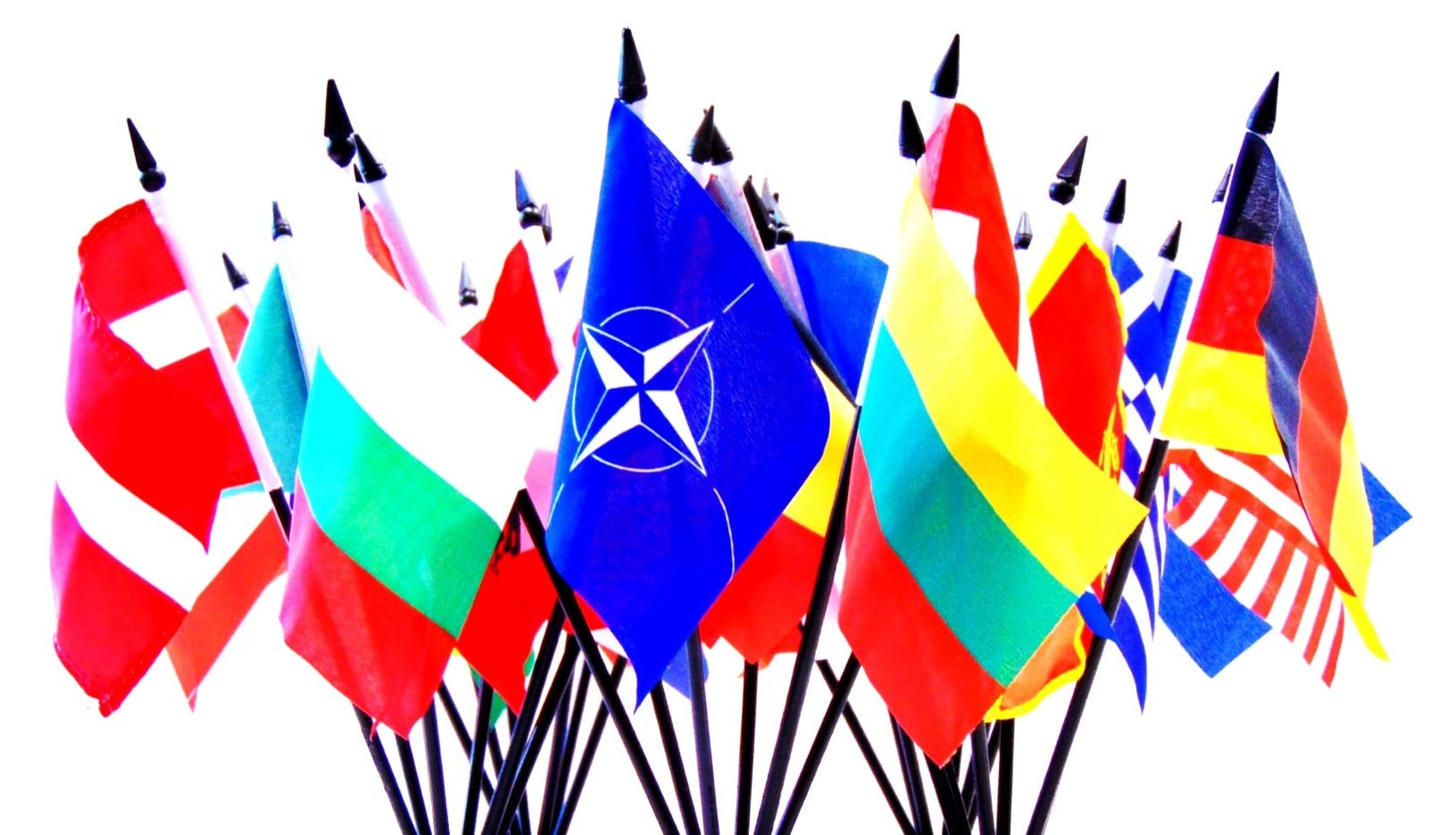 North Atlantic Treaty Organization (NATO) Flag SET-30 Polyester 4''x6'' Flags, One Flag for Each Country in NATO, 4x6 Miniature Desk & Table Flags, Small Mini Stick Flags