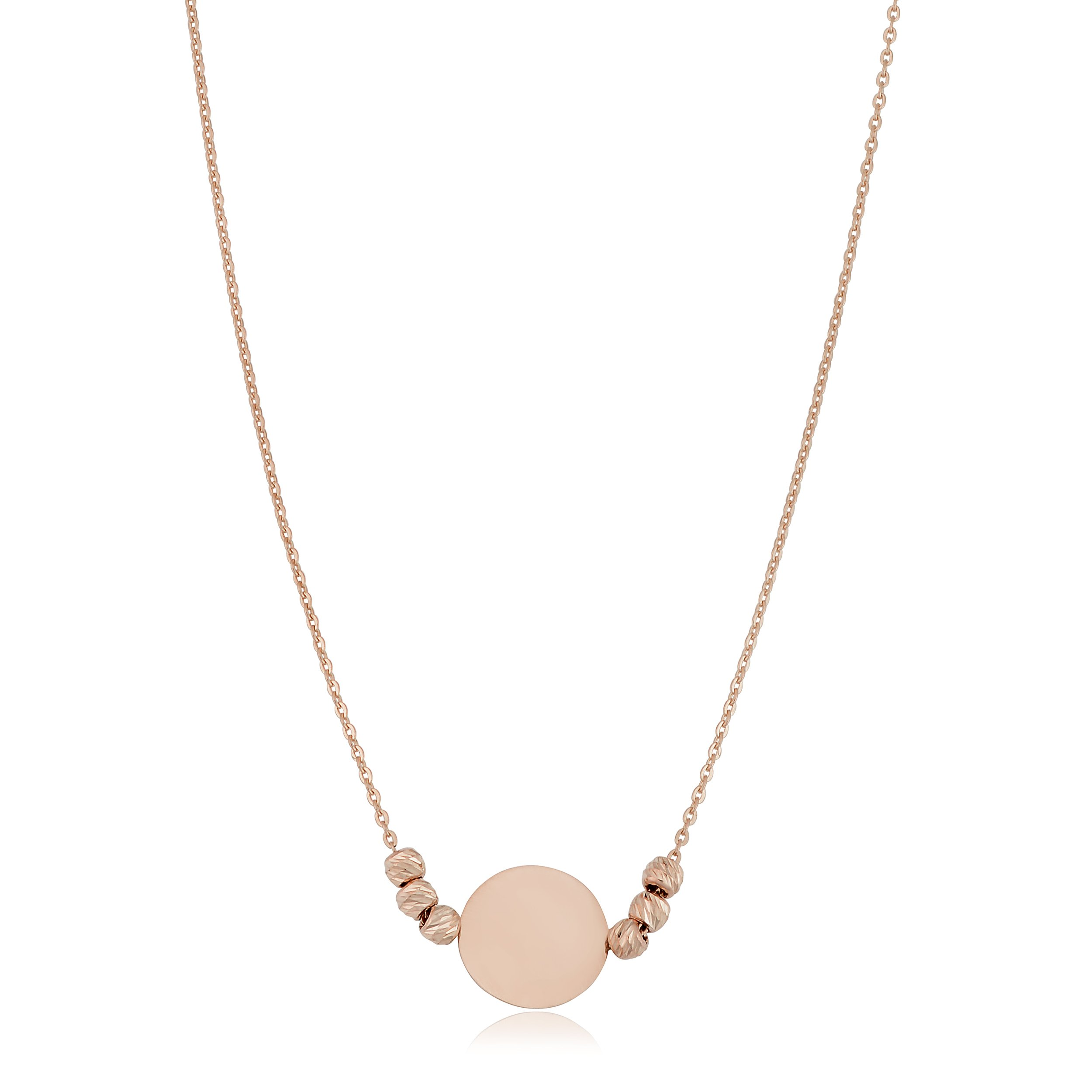 14k Rose Gold Round Disc And Diamond-cut Bead Adjustable Length Necklace (fits 17'' or 18'')