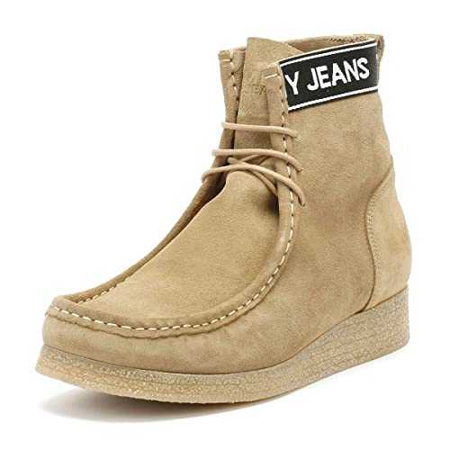 03301d79904f13 Tommy Hilfiger Jeans Crepe Outsole Wallaby Mens Sand Beige Boots-UK ...