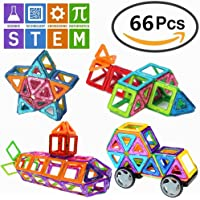 66 PCS Magnetic Building Blocks Educational Toys Magnet Tiles Set Stacking Blocks for Toddler Kids