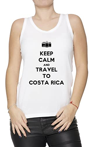 Keep Calm And Travel To Costa Rica Mujer De Tirantes Camiseta Blanco Todos Los Tamaños Women's Tank T-Shirt White All Sizes