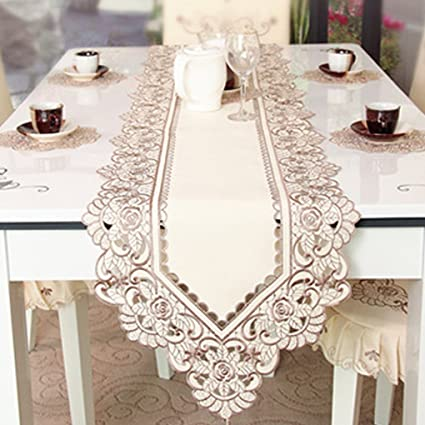 Delicieux Shinywear 110 Inches Brown Flower Embroidered Lace Cream Table Runner Long(Table  Runner 15.7u0026quot;