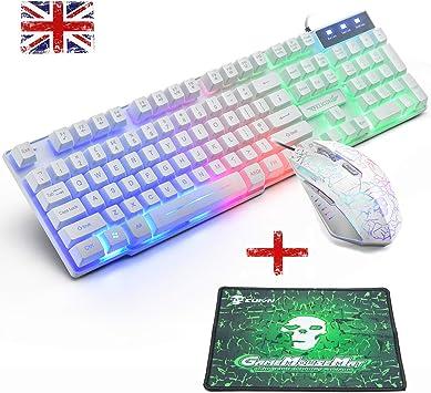 FELiCON Juego De Teclado y Mouse T6 Con USB Ergonómico Rainbow LED Retroiluminación Multimedia Gamer Gaming Keyboard Mouse Combo óptico 2400DPI 6 ...