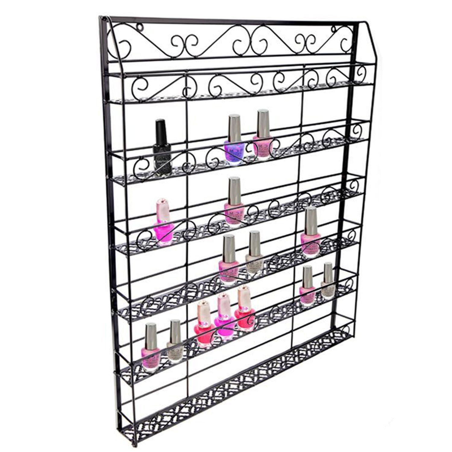 Pesters 6-Tier Wall Mounted Nail Polish Rack Organizer, Black Metal 120 Bottles Nail Polish Shelf Display Rack Holder for Home, Business, Salon, Spa, and More (US STOCK)