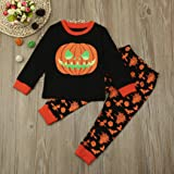 Hallowe Christmas n Costumes, Baby Girl Boy Pumpkin Tops+Pants Outfits Set by WOCACHI Fab-Boo-Lous Clearance Sale Black Friday Cyber Monday Deals