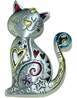 Marvelous Spoontiques Smiling CAT Kitten Pewter PIN With Color Enamel Accents