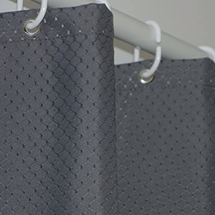 Eforcurtain Classic Waffle Weave Charcoal Fabric Shower Curtains With Rust Proof Metal Grommets Standard Size