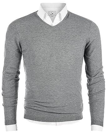 b1f6946d0d MOCOTONO Men s V-Neck Long Sleeve Pullover Cotton Casual Sweater ...