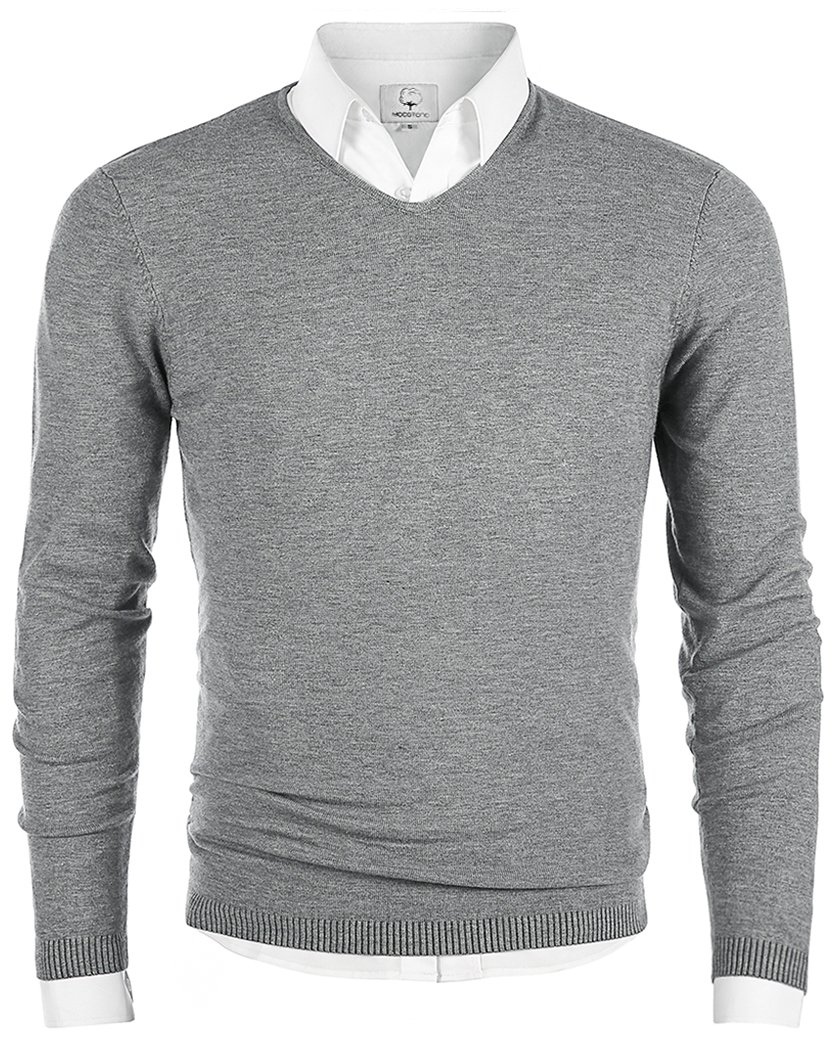 MOCOTONO Men's V-Neck Long Sleeve Pullover Casual Sweater Light Gray Medium