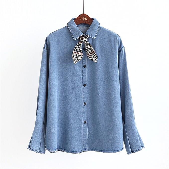 jia128 Camisa de Corbata, Camisa de Mezclilla, Manga Larga de Mujer, Suelta,