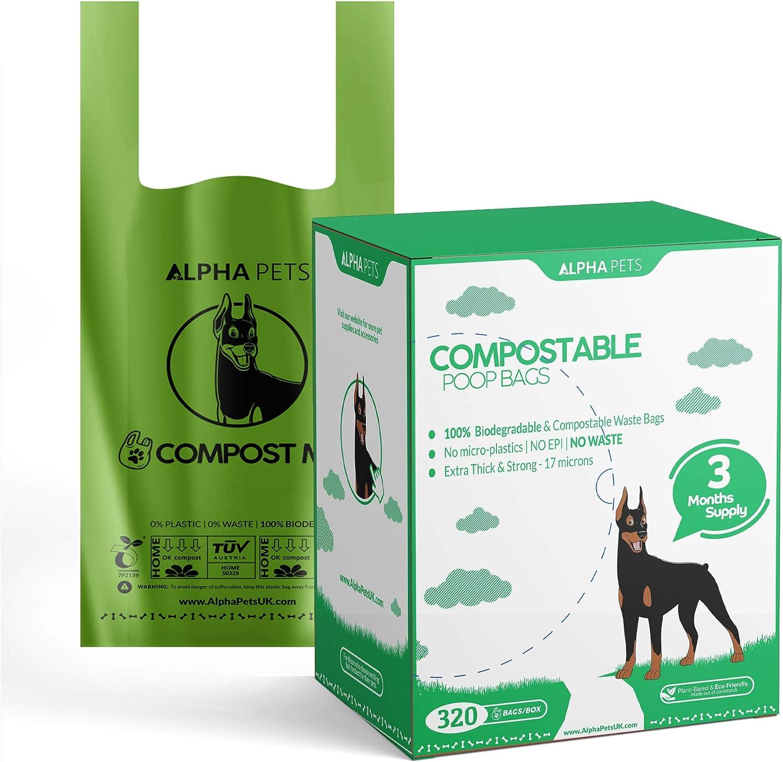 Alpha Pets Bolsas compostables para Perros con Asas fáciles de ...