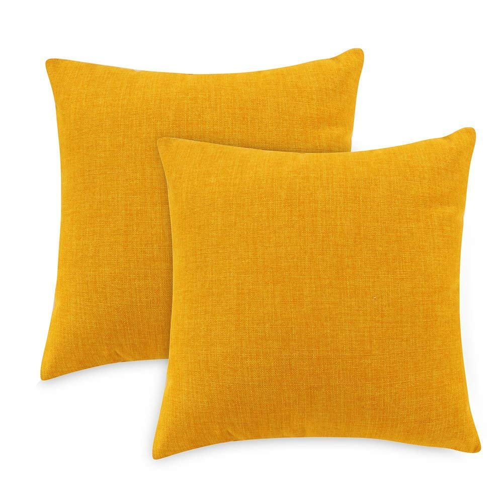 Loom & Mill Decorative Linen Pillow Cases Set of 2, Solid Throw Pillow Covers Square Couch Cushion Cover Pillow Shams with Zipper - (20 x 20 Inch, Yellow)