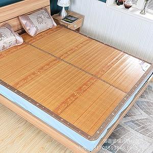 AMYDREAMSTORE Printed Carbonized Bamboo Sleeping mat Mattress Topper pad Ice Bamboo Mat Folding Summer Cooling mat-E 70x190cm(28x75inch)