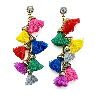 Review Young & Forever Girl's Bella Multicolor Metal Tassels Dangle & Drop Earrings