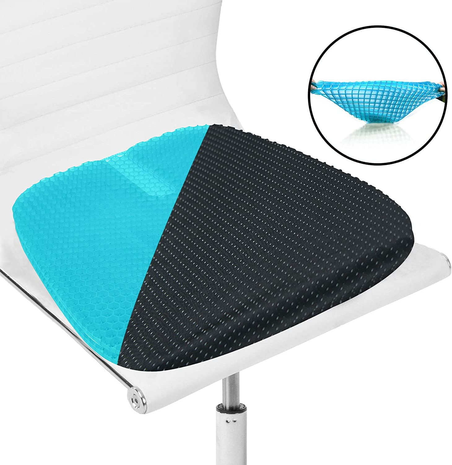 LHOTSE Gel Sitter Seat Double Thick Cushion with Non-Slip Cover, Multi-Use Breathable Orthopedic Cushion for Car, Office Chair, Tailbone Pain Relief