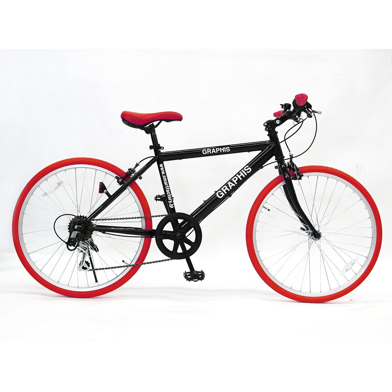 GRAPHIS(グラフィス) GR-001J クロスバイク 24インチ 6段変速 可動式ステム クイックレリーズ 9色 B07D4DFNBV ブラック/レッド ブラック/レッド