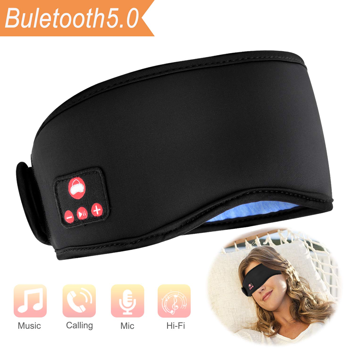 Sleep Headphones Bluetooth Sleeping Eye Mask, Jimey Wireless Bluetooth Headphones Music Travel Sleeping Headset 5.0 Bluetooth with Silk Lining Sleepphones Built-in Speakers Microphone Washable