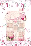 """New Home Greetings Card - House, Pink Roses, Bunting & Butterflies 7.75"""" x 5.25"""""""