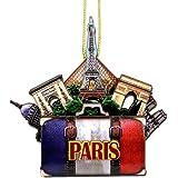 Paris Christmas Ornament 4 Inch Double Sided 3D Eiffel Tower Christmas Ornament
