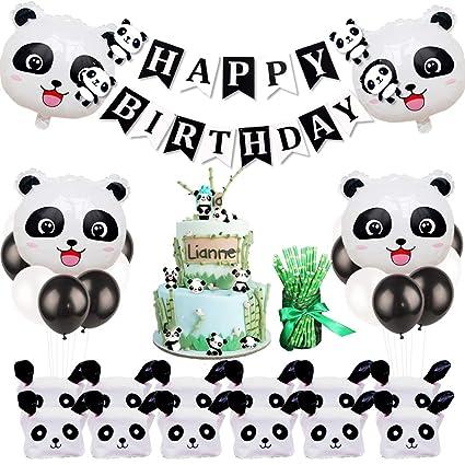 Amazon.com: Panda cumpleaños fiesta decoraciones con panda ...