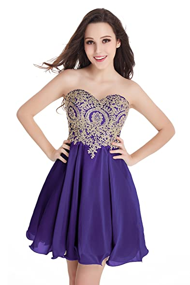 2016 Short Beading Open Back Satin Homecoming Dress Prom Gowns (Puple,2)