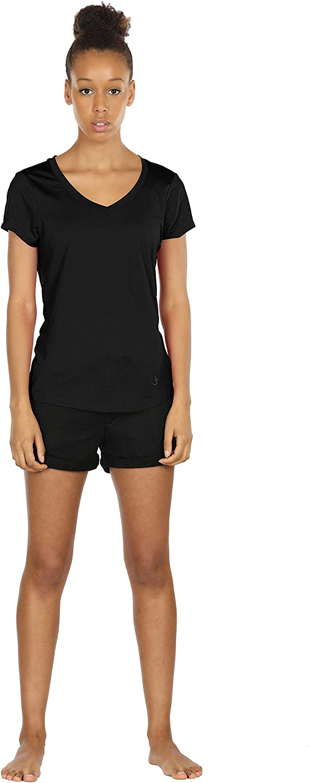 Confezione da 3 Fitness Corsa T-Shirt icyzone Donna Maglietta da Sportivo con Scollo a V