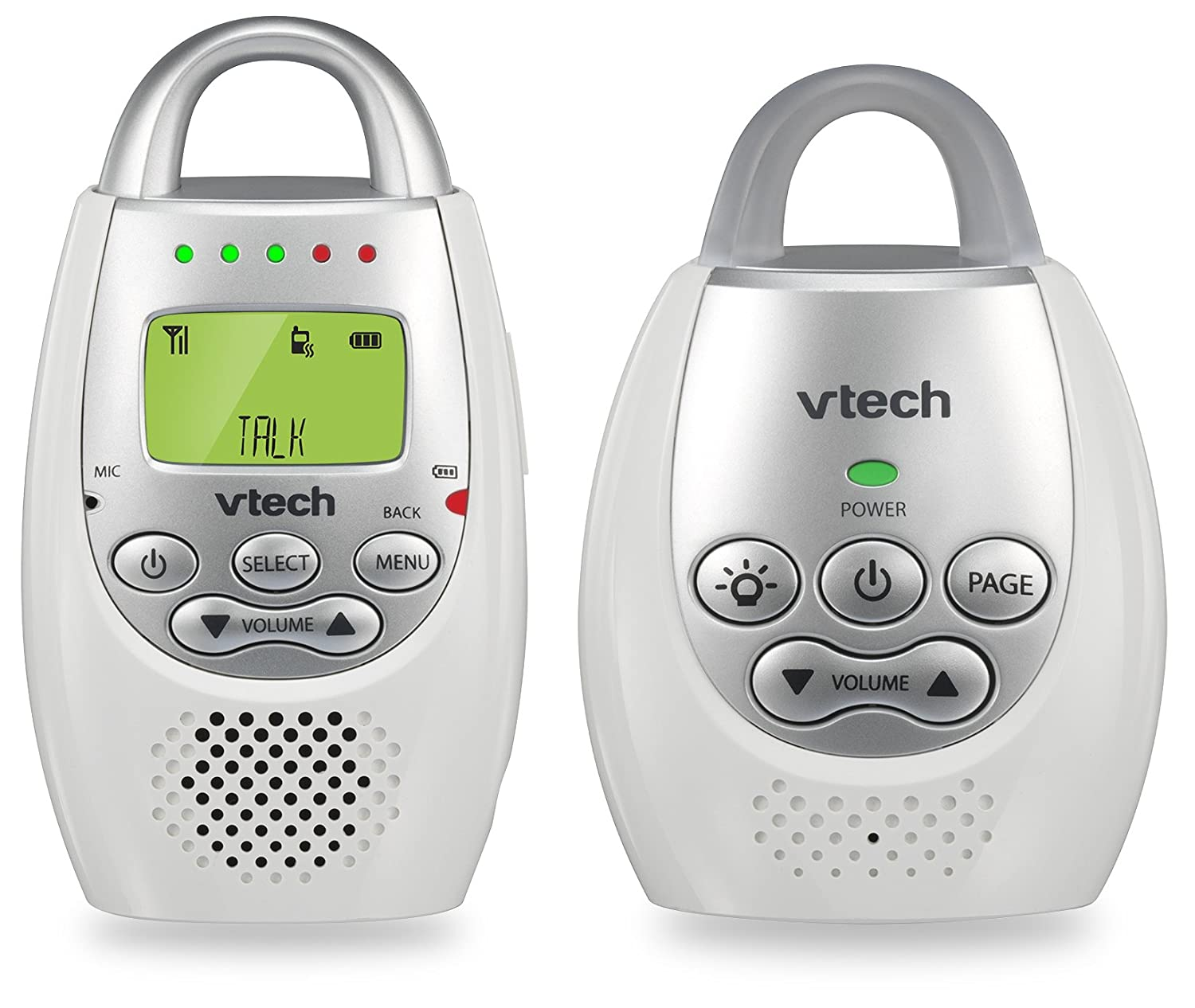 VTech BA72211GY Gray Audio Baby Monitor with up to 1,000 ft of Range, Vibrating Sound-Alert, Talk Back Intercom Night Light Loop