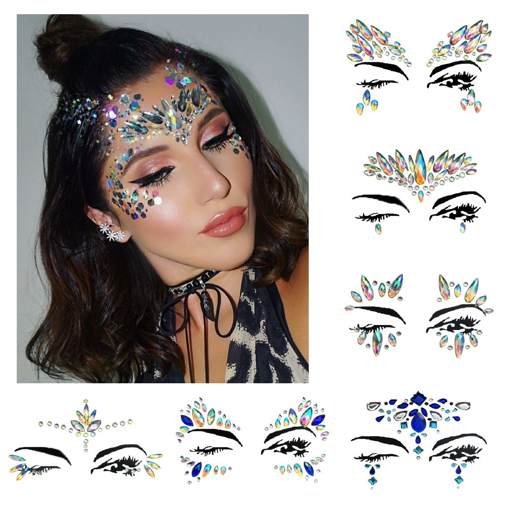 Festival face jewels Tattoo, Udyr 6 Sets Rhinestone Crystal Gem Stones Temporary Sticker Tribal Style 3D body Face And Eye Jewels Forehead Stage Decor (white 2)