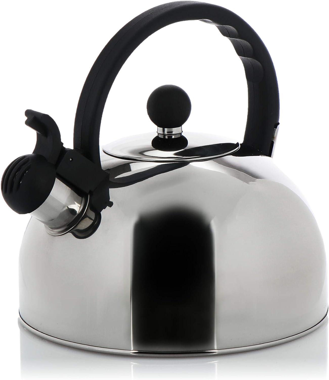 COM-FOUR® Hervidor de té 2,5 L - hervidor retro de acero inoxidable - hervidor de silbido para agua hirviendo - hervidor retro (01 piezas - 2,0 litros V2)