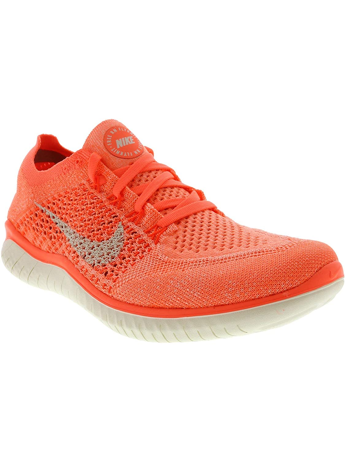 Nike Womens Free Rn Flyknit 2018 Low Top Lace Up Running, Orange, Size 7.5