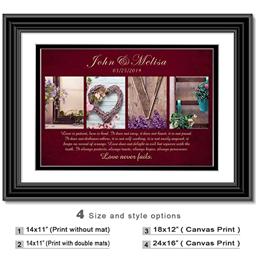 45e122d0958 Image Unavailable. Image not available for. Color: Love Never Fails -  Personalized artwork with Couple's Names and date on, wedding Anniversary  gifts
