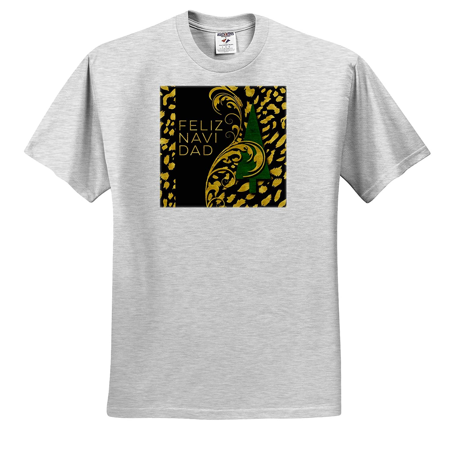 Spanish Feliz Navidad Green and Gold Christmas Tree ts/_319565 3dRose Doreen Erhardt Cultural Adult T-Shirt XL